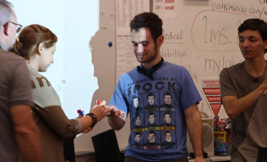 (From left to Right) Mr. Goins, Diana Chernyak, Aidan Cini, and David Akcheirlian commemorate their wedding vows.