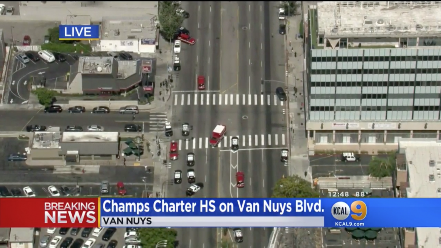 Aerial view of CHAMPS and the Jack in the Box from KCAL's News Helicopter.