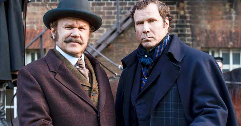 An image showing John C. Reilly playing Watson, and Will Ferrell playing Holmes in the new movie Holmes and Watson, coming out in December of 2018.