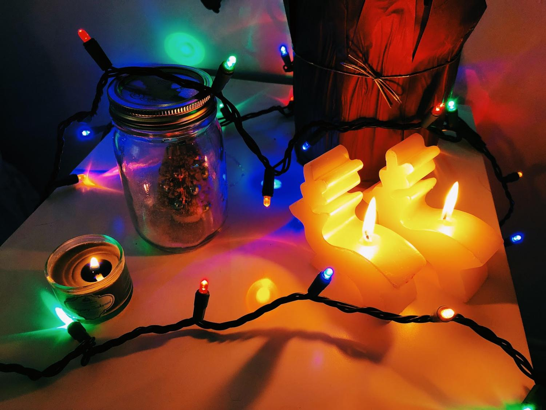 An assortment of handmade Christmas decorations.