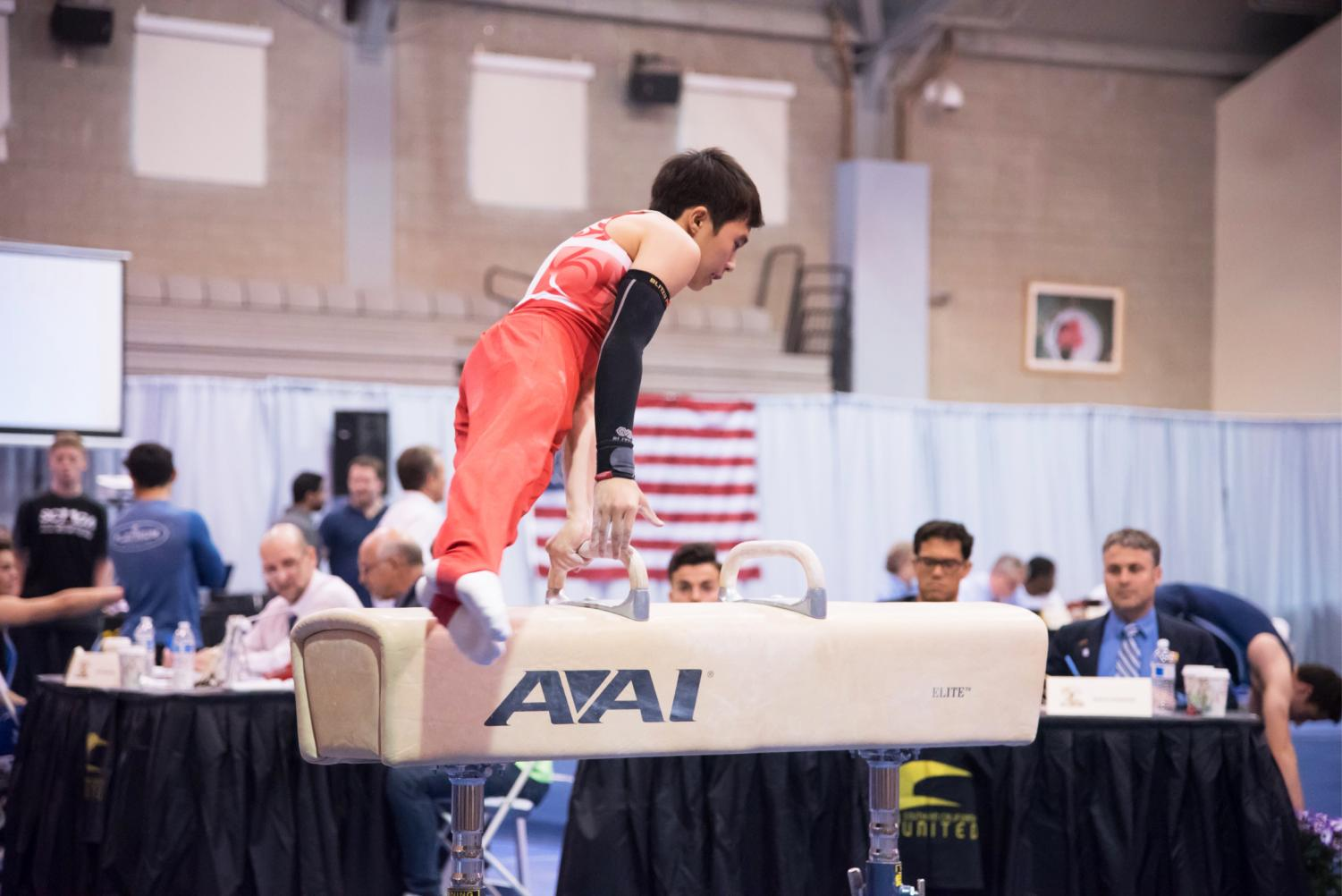 Sano shows his upper body strength on the pommel horse in the 2018 Southern California State Championships.