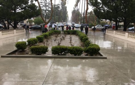 Van Nuys teachers stand their ground striking in front of the school in the rain.