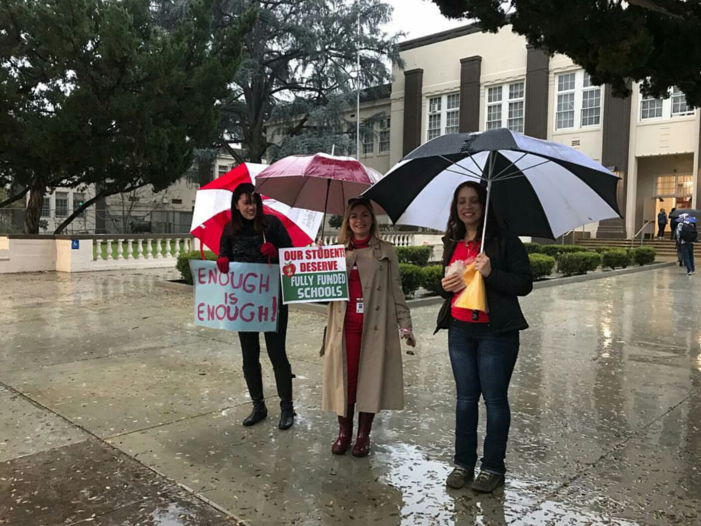 Van Nuys' teachers picket in front of the school the first day of the strike, January 14.