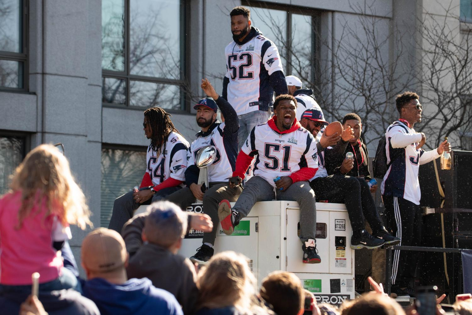 The Patriots celebrating their victory.