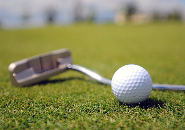 A putter and golf ball laying on the green.