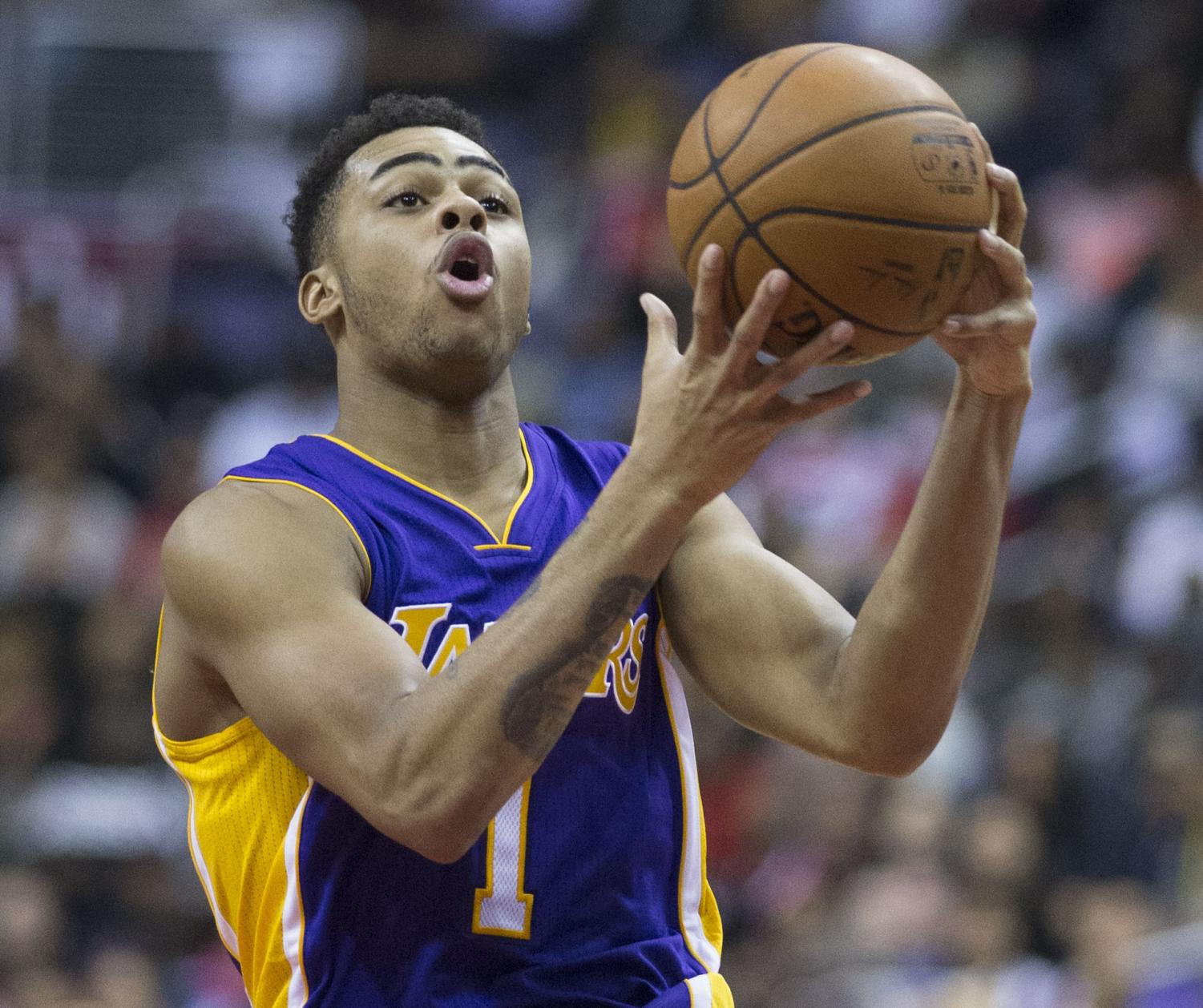 D'Angelo Russell as a Laker against the Washington Wizards on Dec. 2, 2015.