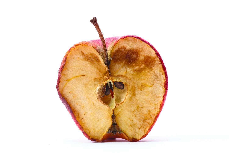 A half eaten rotten apple.