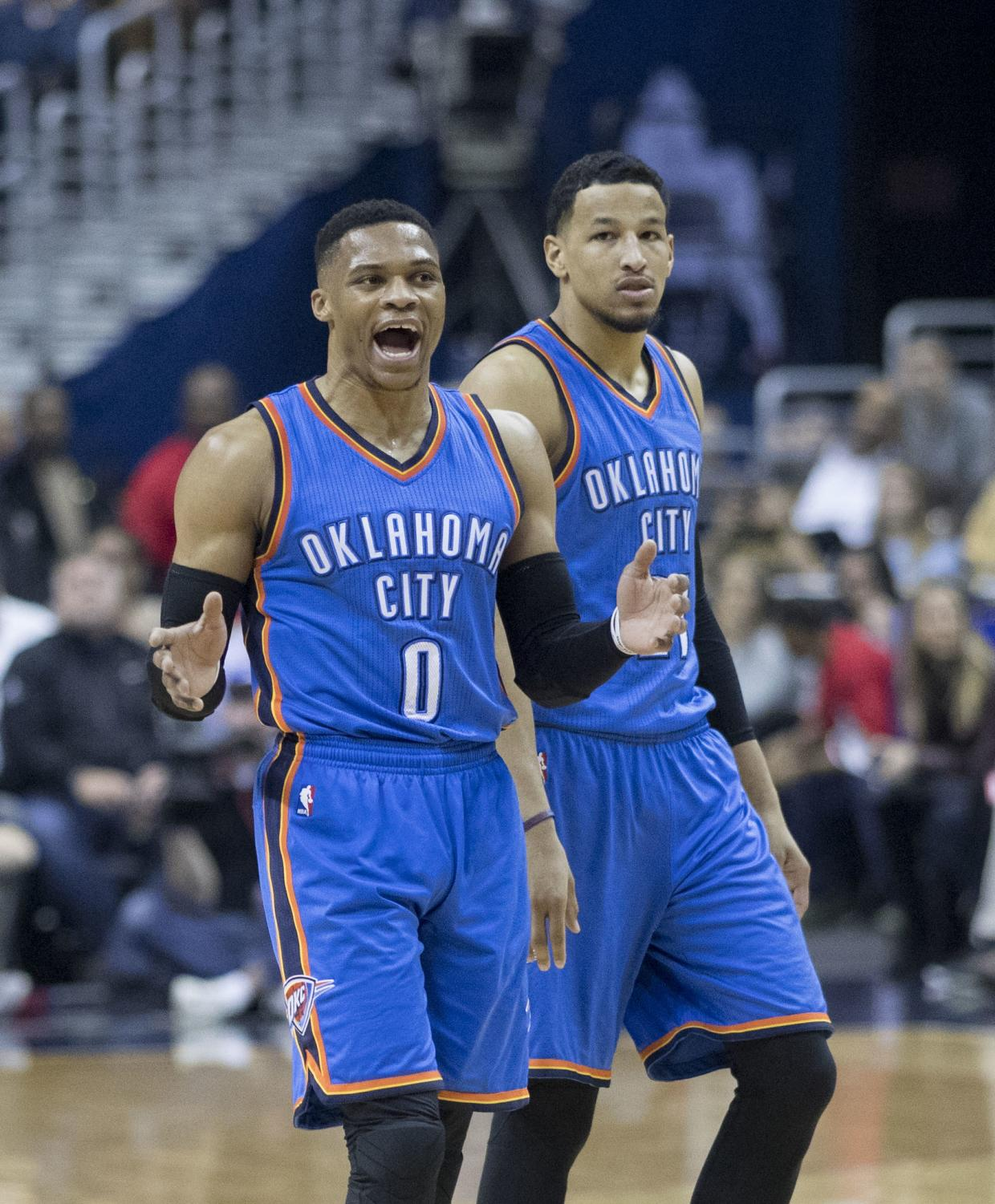 Russell Westbrook (L) of the Oklahoma City Thunder gets energized with his teammate Andre Roberson while facing the Washington Wizards on Feb. 13, 2017.