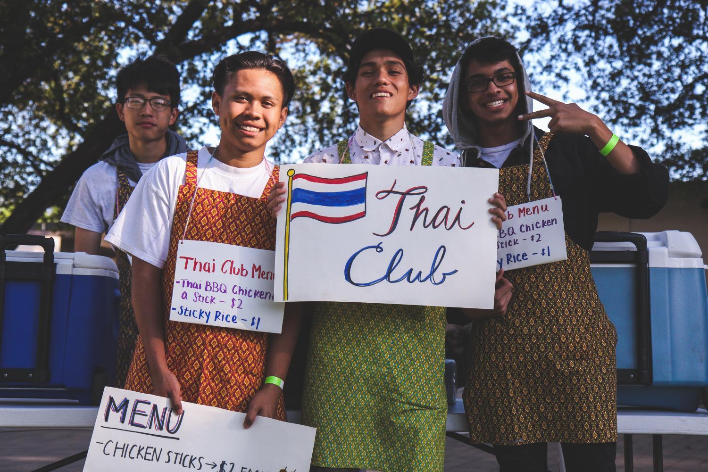 Thai club students (L to R) Jerry Hamada, Paolo Aquino, Aaron Meija and Aditya Tummala sold BBQ chicken and rice.