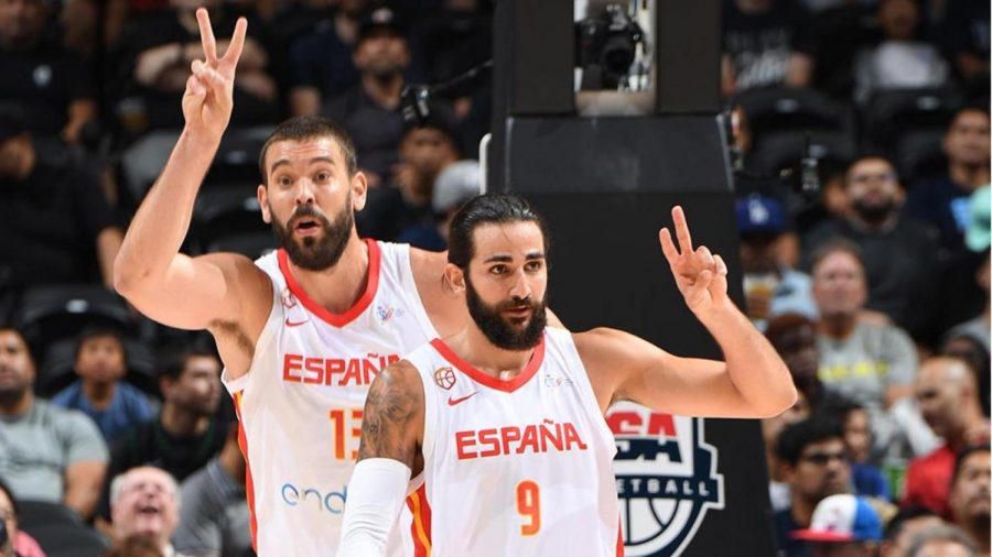 Spain teammates Ricky Rubio and Marc Gasol getting ready to run a play.