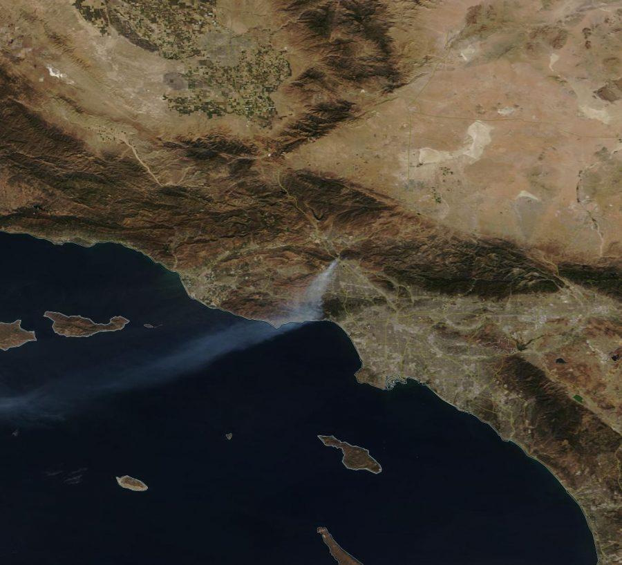 A satellite image from the National Aeronautics and Space Administration (NASA) showing the Saddleridge brush fire.