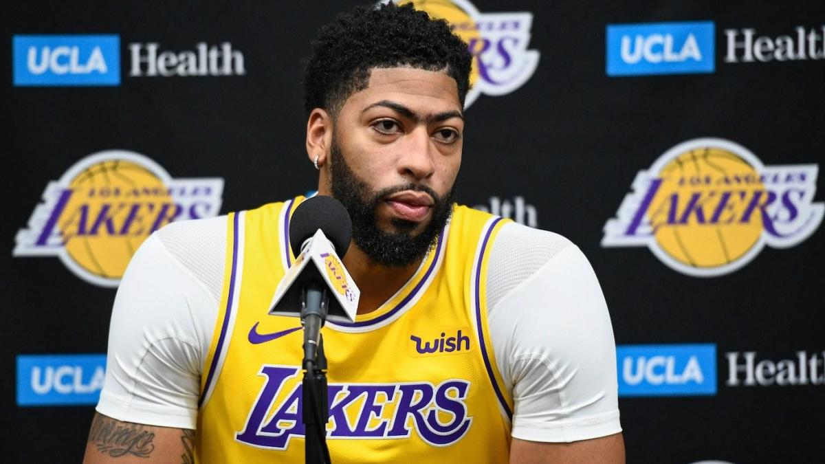 Anthony Davis listening to questions on the Lakers media day. Photo from CBS Sports.