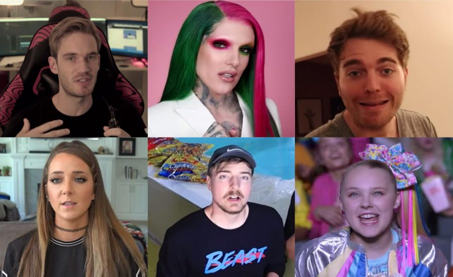 Pewdiepie+%28top+left%29%2C+Jeffree+Star%2C+Shane+Dawson%2C+Jenna+Marbles+%28bottom+left%29%2C+Mr.+Beast+and+Jojo+Siwa+dominate+the+Youtube+platform