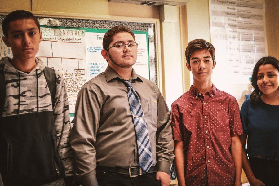 Derrick Alas (left), Angel Velarde, Nicolas Mata, and Daniela Herrera smile for the camera.