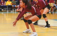 Captain Aileen Flores gets ready to bump the ball from the opposing team.