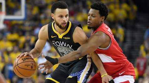 Stephen Curry (left) matched up against Kyle Lowry (right), in a game from last years finals.