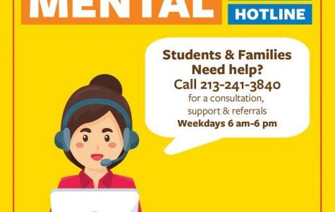 Informational flyer regarding the recently launched LAUSD Mental Health Hotline via Superintendent Austin Beutner's Twitter (@AustinLASchools)