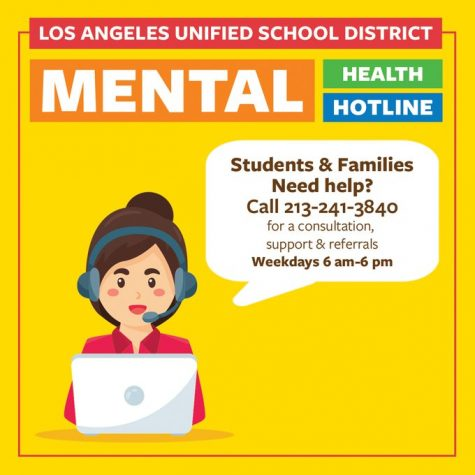 Informational flyer regarding the recently launched LAUSD Mental Health Hotline via Superintendent Austin Beutner