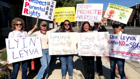 Parents gather outside Senator Connie Leyva