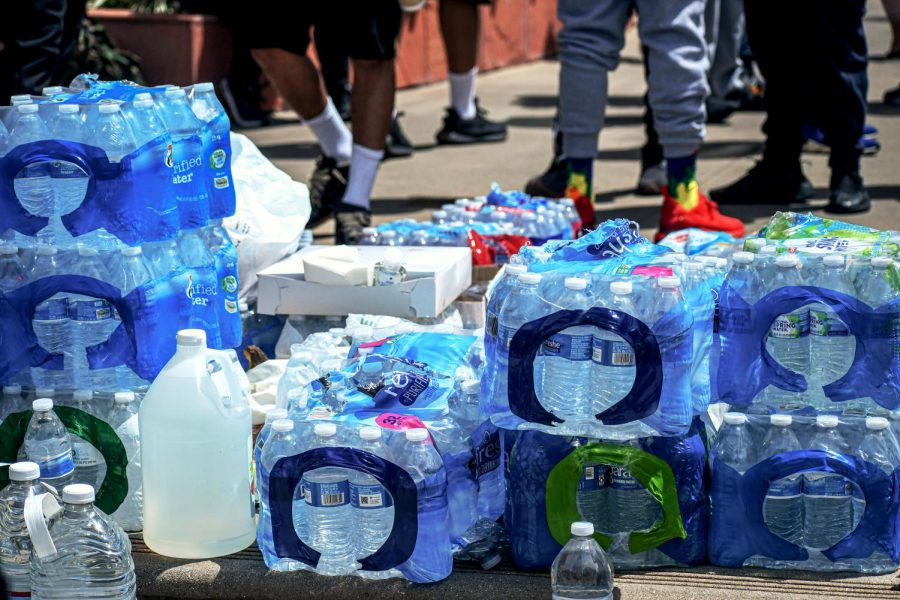 Protestors were handling water bottles or food at no charge during the Black Lives Matter protest in Van Nuys City Hall to keep attendees hydrated and fed on June 1, 2020.