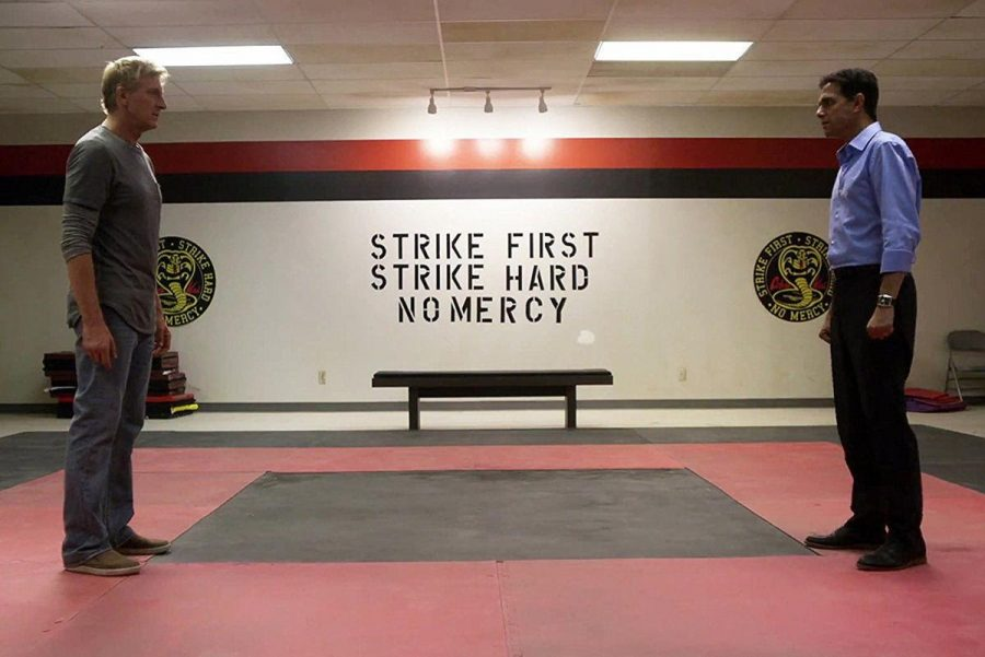 Lawrence and LaRusso in the new Cobra Kai dojo