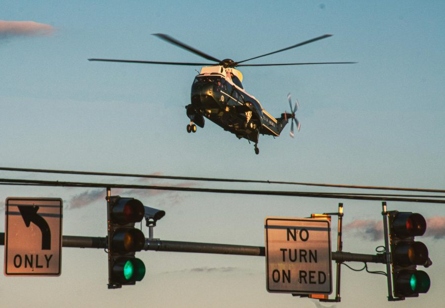 Presidential Helicopter is about to land to receive treatment for President Donald J. Trump for COVID-19.