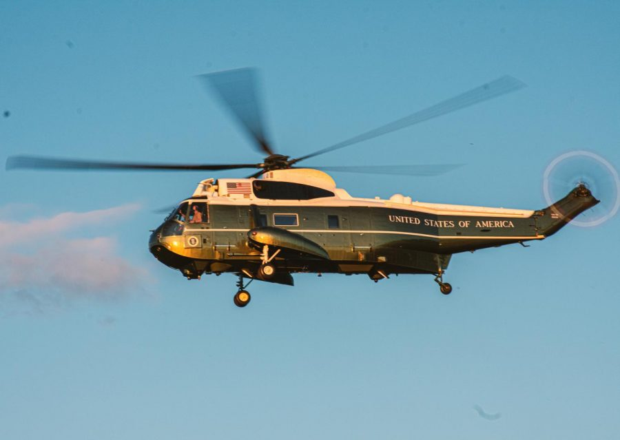 A close up shot of the Presidential Helicopter in movement at Walter Reed National Military Medical Center on Friday October 3rd.