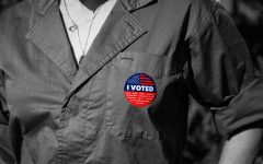 A voter shows off their sticker for voting in Beverly Hills City Hall on Election Day. (NOV 3, 2020)