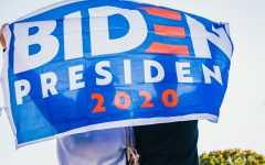 BIDEN PRIDE Supporters hoist their flag for Democrat presidential nominee Joe Biden.