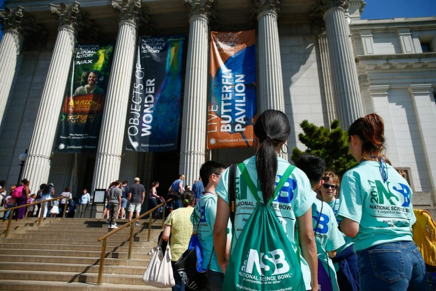 Middle school students wait to enter the Smithsonian National Museum of Natural History on the National Mall during the 2017 National Science Bowl competition, Friday, April 28, 2017, in Washington, DC. (Photo by Jack Dempsey, U.S. Department of Energy, Office of Science)