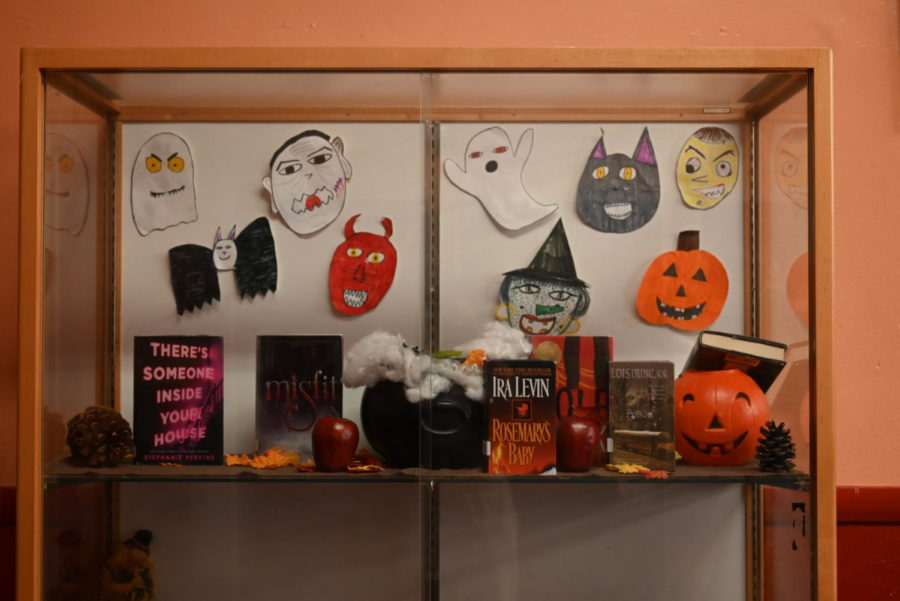 The library shows off their featured books with Halloween-themed decorations.