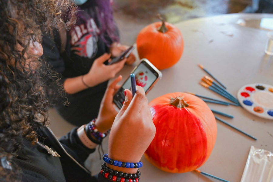 The Search For Inspiration: Many students flooded the popular image sharing app Pinterest to find the perfect pumpkin painting idea. This student decided upon the poison apple in Snow White.