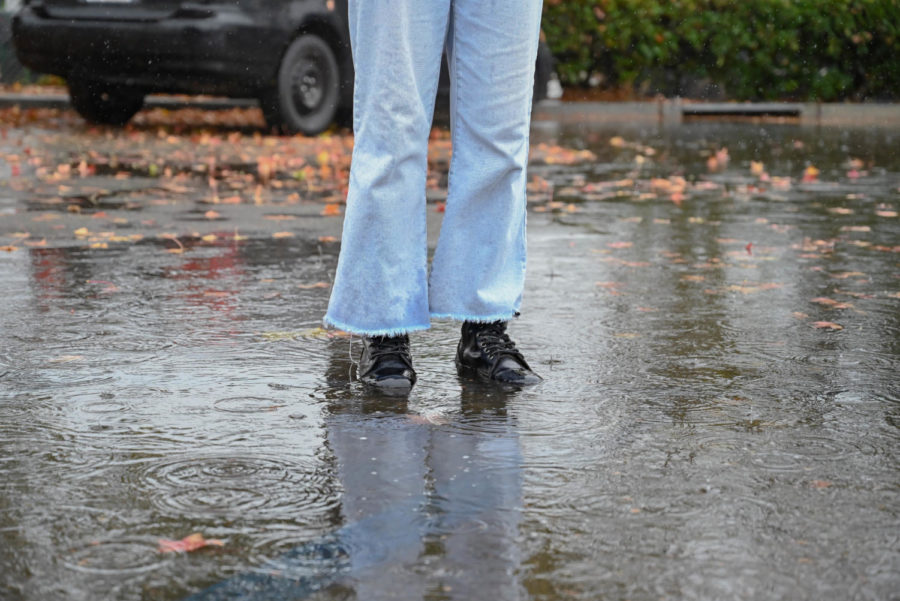 Bring your boots.  Deep puddles littered all over the school were perfect places for students to play in.